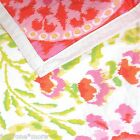 DENA IKAT BLOSSOM QUEEN QUILT *Reversible!* COTTON FLORAL PINK LIME ORANGE FULL