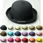 Vintage Women Summer Straw Derby Bowler Hat Sun Beach Fedora Style Cloche Cap