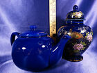 Set of Japan Peacock With Gold Accents Vase With Lid & Cobalt Blue Tea Pot Lot