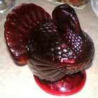 L.E. Smith Ruby Red Amberina Glass Turkey Candy Jar MINT condition! No issues!
