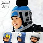 Boys Toddler Hat Knitted Winter Hooded Cap Scarf Warm Acrylic