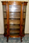 ANTIQUE Cortland Oak Bowed Glass Curio, Display Cabinet, Columned With Claw Feet