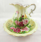 VINTAGE LEFTON HAND PAINTED HERITAGE ROSE PITCHER & BOWL-MARKED SL-5245