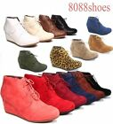 Womens Casual Oxford Ankle Booties Lace up Low Wedge Shoes Size 5 10 NEW