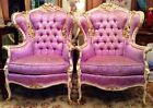 SALE! Fab Pair Vtg Baroque French Provincial Louis XV Carved Gilt Chairs Tufted