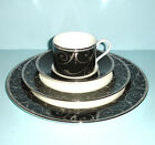 Mikasa Elegant Scroll Black 4 Piece Place Setting - No Butter Plate New