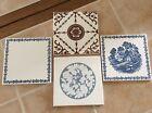Antique Richard Ginori 4 Tiles 6x6 Great Shape. Made In Italy 1960's