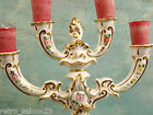 Gorgeous Antique Signed 4 Tier Italy Porcelain Candelabra Gold Gilt Flowers