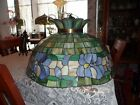 ANTIQUE TIFFANY TYPE LEADED ARTS & CRAFTS ART GLASS HANGING LAMP SHADE - DOME
