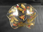 Vintage Glass Dugan Holly and Berry Clear Enameled