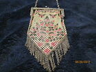 1920's enameled metal mesh flapper purse signed