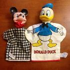 Vintage 1950's Walt Disney Rubber & Cloth Mickey Mouse & Donald Duck Hand Puppet
