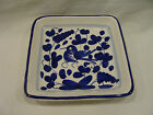 Italy Square Ceramic Plate Hand Painted Blue/White/Bird
