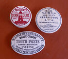 3 antique,ceramic,advertising pot lids...sold as 1 LOT ..all with some damage
