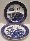 Petrus Regout Maastricht Blue Willow Divided Grill Plate Holland Vintage Set (2)