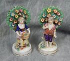 ANTIQUE LATE 1700'S HOCHST marked Porcelain Figure Pair with Trees