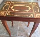REUGE SWISS MUSIC BOX ITALY INLAY BURL WOOD SMALL TABLE JEWELRY Isle Of Capri