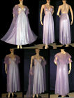 Vintage Shimmery Lace Purple Wide Sweep Nylon Nightgown & Peignoir Robe Set S M