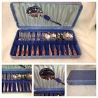 Vintage Chrome On Nickel Plate Desert Spoons & Forks Set With Box Sheffield