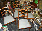 Set of 5 Mahogany Duncan Phyfe side chairs with powder blue brocade seats.NICE!!