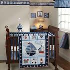 Blue Stripes Sail Boat Nautical Decor 4 Piece Baby Boys Nursery Crib Bedding Set