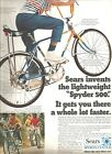 VINTAGE 1970 PRINT SALES AD SEARS BIKES SPYDER 5 SPEED 9 X 12 BICYCLES