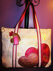 NEW Rare COACH Poppy Metallic Leather Glam Tote Pink Valentine Heart 14551 99999