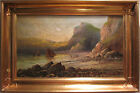 ANTIQUE BRITISH UK SEASCAPE FISHING FLEET CORNWALL ? OIL PAINTING IMPRESSIONIST