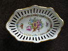 EXQUISITE ANTIQUE SCHIERHOLZ SMALL  RETICULATED OVAL BOWL, EARLY 1900'S, FLORAL