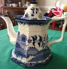 Vintage Fenton E & C Challinor Ironstone Blue Willow Teapot with Lid