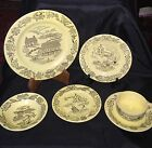 Royal China Sebring Ohio Bucks County Yellow Farm Scene 1950's Group of 8 pcs