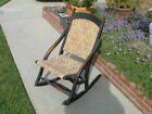 ANTIQUE WOODEN FOLDING ROCKING CHAIR W/ TAPESTRY FABRIC ROCKER~ORIG. PATINA