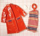 Vintage Barbie Clothes Fashion Shiner Knit Dress, Red Raincoat, Gloves, GUC 1971