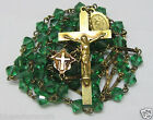 † HTF ANTIQUE GOLD WASHED CAPPED GREEN ART BICONED GLASS ROSARY