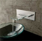 New Square Bath Bathroom Wall Mounted Glass Waterfall Sink Faucet Mixer Chrome
