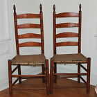 Antique Pair Early C1850 Shaker Ladder Back Maple Side Chairs Original Seat