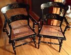 NR PAIR Vintage Tell City Cane Seat Stenciled ARM CHAIRS Original Paint and Wear