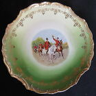 Victorian Decor Wall/Cabinet Plate w/Hunting Scene Horses, Riders