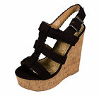 Sotto Soda Braided Strappy Cork Wrapped Platform Wedge Sandal Black Faux Suede