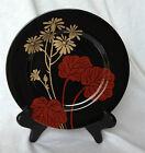 Fitz and Floyd Imperial Garden Daisy Flower Salad Plate Red Gold Black NICE