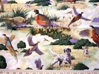 1 Yd Novelty Pheasant Quilt Fabric Pheasants Hunting Dogs Trees Scenic