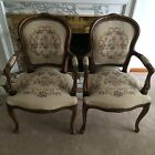 ITALIAN CARVED WALNUT OPEN ARM CHAIR: Made by Chateau d'Ax