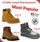FREE 399 SOCKS Mens 6 Work Boots Shoes With Steel Toe Leather 8036ST