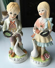Girl Ardalt Lenwile China Porcelain Bisque Figurines - Set of 2