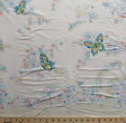 Flowers Butterflies Butterfly Cotton Border Fabric Print by the Yard D17213