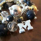 fun UNIVERSITY of MICHIGAN WOLVERINES Go Blue BEADED LOGO CHARM BRACELET Jewelry