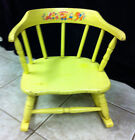 Bentwood Childs Wood/Wooden Rocking Chair Painted Rocker Yellow Shabby Chic Vtg