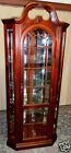 VINTAGE Cherry Lighted Curio/Display Corner Cabinet,Glass Shelves, Mirrors