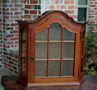 Antique French Oak Bonnet Top Wall Shelf Vitrine Curio Glass Display Cabinet #1