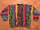 Coogi Sweater XL Cosby Biggie Vintage Bright Colors Large Guitar Suns Rainbow
